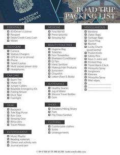 Printable Trip Pack List  Pack List Road Trips And Vacation