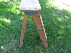 Old Fashioned Wood Step Stool / Rustic Folding Ladder / 24 Inches Tall