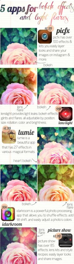 5 apps for bokeh effects and light leaks in Instagram :)