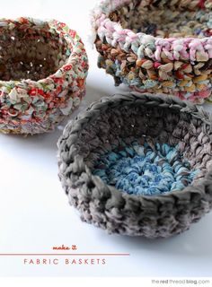 Beginner's crochet lesson. Use fabric scraps to make fabulous storage baskets. Tutorial shows how to make fabric yarn and rag rope. #crochet