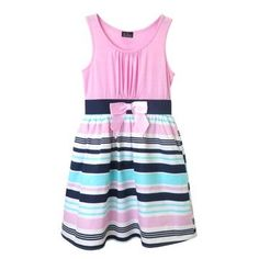 Girls' Zenzi Sleeveless Knit Dress with Stripe Poplin Skirt