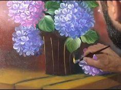 video aula hortensias oleo sobre tela (amostra) - YouTube