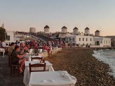 coucher de soleil sur Little Venice, Mykonos
