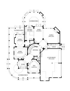 First Floor Plan of Farmhouse  Victorian   House Plan 87609