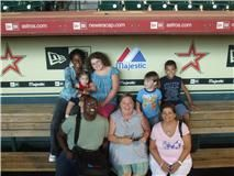 In the dugout at Minute Maid Park.