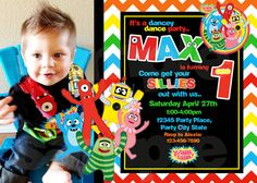 Yo Gabba Gabba Birthday Invitation Black / by Thequiltedmonster, $10.00