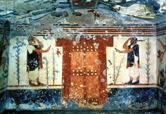 Etruscan tomb fresco: A door flanked by two guards, from the Tomb of the Augurs, C.400BC Tarquina archaelogical museum