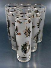 Libbey Vintage Set of 6 Silver Leaf Foliage Tom Collins Cooler Glasses Tumblers
