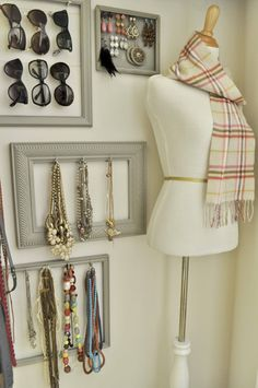 "necklace earing sunglass organization style - ""I like the sunglasses in the frame good idea I am going to do this too"""