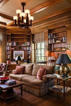 Interior designer Susan Jamieson featured Manila Hemp 3436 Espresso on the ceiling of the library in a client's Richmond home.