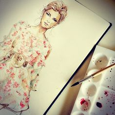 First Stage of #color #fashionillustration #watercolor