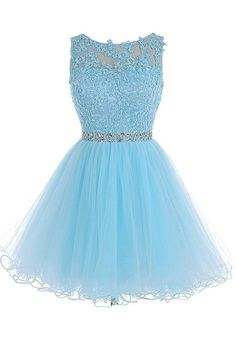 Scoop Short Blue Zipper-up Tulle Homecoming Dress PG013 - Pgmdress