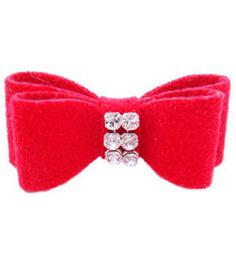 Swarovski Crystal Puppy Hair Bow in Red by Susan Lanci (More Colors)
