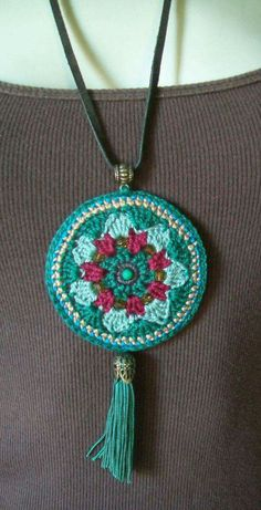 take all the overlay/mandala motif's I've designed & work them up with thread. Again - just imagining the possibilities This Pin was discovered by GÜL Crochet and Tassel Necklace Love Crochet, Diy Crochet, Crochet Crafts, Crochet Flowers, Crochet Projects, Crochet Jewelry Patterns, Crochet Accessories, Textile Jewelry, Fabric Jewelry