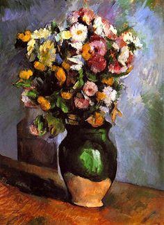 Paul Cézanne -flores en un jarrón de oliva