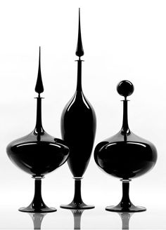 Joe Cariati Hand Blown Glass in stock ready to ship. Shop online for Joe Cariati hand blown glass. Tabletop Accessories, Decorative Accessories, Vase Deco, Modern Tabletop, Design Industrial, Art Of Glass, Black Glass, Hand Blown Glass, Wood Turning