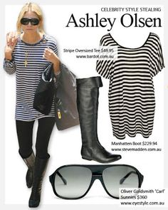 Oversized t-shirt; leggings, boots & sunglasses uniform for Fall 2014