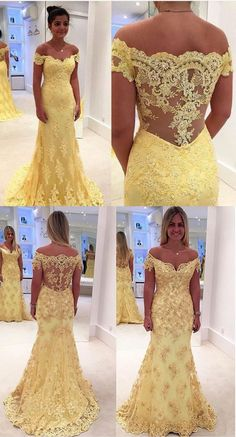 Gorgeous V-neck Long Lace Prom Dress Evening Dress with Train,196
