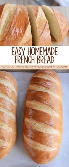 Homemade French bread has never been easier! This simple recipe produces a perfect loaf of French bread that will rival any bakery with a super easy tip for getting that crisp outer crust and soft, fluffy inside. Yum!