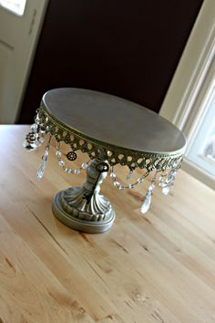 DIY beaded Steampunk cake stand by BohemianRomance