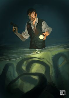 In Dark Waters... by tohdraws octopus H.P. Lovecraft investigator gun pistol flashlight ocean sea flooded basement monster armor clothes clothing fashion player character npc | Create your own roleplaying game material w/ RPG Bard: www.rpgbard.com | Writing inspiration for Dungeons and Dragons DND D&D Pathfinder PFRPG Warhammer 40k Star Wars Shadowrun Call of Cthulhu Lord of the Rings LoTR + d20 fantasy science fiction scifi horror design | Not Trusty Sword art: click artwork for source