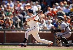 SAN FRANCISCO, CA - AUGUST 31: Andrew Susac #34 of the San Francisco Giants hits a double that scored two runs against the Milwaukee Brewers in the seventh inning at AT&T Park on August 31, 2014 in San Francisco, California. (Photo by Ezra Shaw/Getty Images)