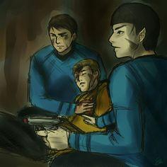 Bones, Kirk, and Spock