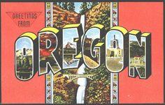 Oregon OR 1950s Large Letter Greetings from Oregon Vintage Postcard