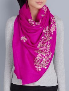 Fuschia Cashmere Wool Aari and Sequins Hand Embellished Stole