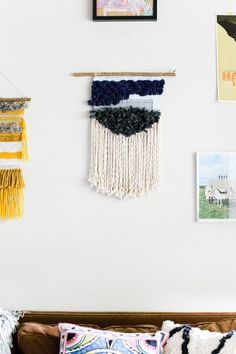 dylan / wall hanging weaving tapestry with tassels / textile art