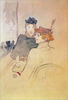 Toulouse-Lautrec – Two women sitting in cafe - Henri de Toulousse Lautrec  French 1864-1901