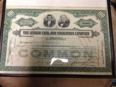 THE LEHIGH COAL & NAVIGATION CO STOCK CERTIFICATE 100 SHARES FEB 10TH 1940