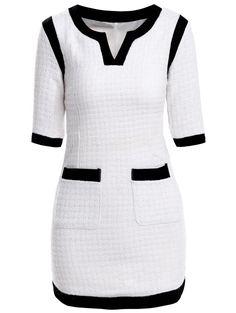 Colher Elegant Neck Color Block bolso Vestido adornado 1/2 da luva das mulheres