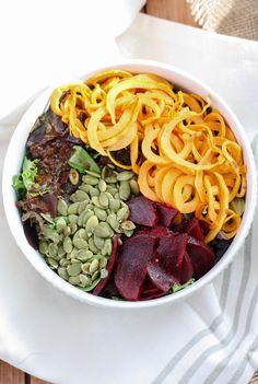 Sweet Potato Beet Salad with Balsamic Date Dressing