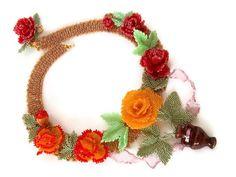 Tea Rose  Beadwork  Necklace Seed Bead Flower by MilenasBoutique, $258.00