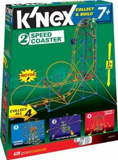 Speed Coaster by K'NEX. $29.95. This set includes instructions to build a speed coaster 2 feet high -  may be combined with other sets in the series to make new rides!. Each set is motorized for exciting thrill ride performance. Combine this set with others in the Amusement Park Series to create even more thrilling rides!. Includes 428 pieces. This Speed Coaster  is part of the collectible Collect and Build Amusement Park Series. From the Manufacturer         ...