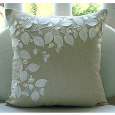 The HomeCentric -Linen Beauty - 26x26 Inches Euro Sham Covers - Cotton Linen Sham Cover with Jute Embroidery
