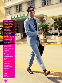 Saw this suit in my copy of GQ February 2014--love the powder blue suit and it's a great price at only $550....! Must have!