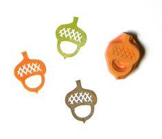 Acorn hand carved rubber stamp. $7,00, via Etsy.
