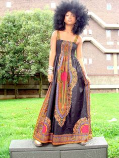 African Dashiki-Print Maxi Dress S/M Black Cabello Afro Natural, Pelo Natural, African Dashiki, African Dress, African Fabric, My Black Is Beautiful, Simply Beautiful, We Are The World, African American Women