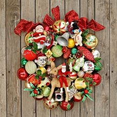 Christmas Wreaths for Front Door, Ornament Wreath, Vintage Christmas Decorations, Holiday Wreath, Christmas Door Wreath, Antique Kitsch Xmas by VintageShopCreations on Etsy