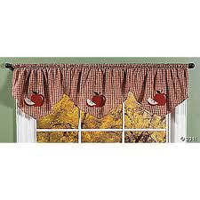 Elegant Apple Window Curtains, Country Kitchen Decor Swag Tiers. Valance.