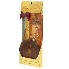 Incense Gift Set - Wood Round Burner + 3 Harmony Incense Sticks & Holiday Greeting (Madhumadhavi, Sehuti, Padmanjari)