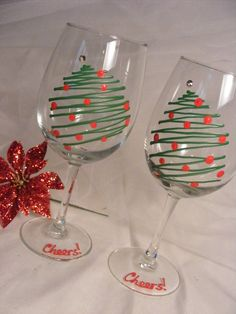 christmas tree toppers glass crafts painted christmas Items similar to Christmas wine glasses - set of 2 hand painted Christmas tree wine glasses on Etsy Diy Wine Glasses, Decorated Wine Glasses, Hand Painted Wine Glasses, Sharpie Wine Glasses, Painting On Wine Glasses, Wine Glass Crafts, Wine Craft, Wine Bottle Crafts, Wine Bottles