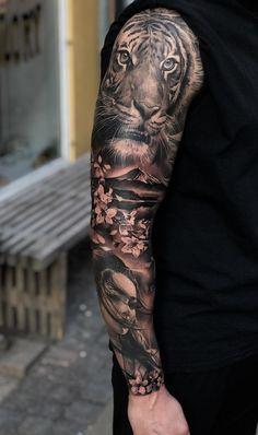 35 amazing sleeve tattoos for men Men wear tattoos today – tattoo sleeve men Samurai Tattoo Sleeve, Tiger Tattoo Sleeve, Lion Tattoo Sleeves, Forearm Sleeve Tattoos, Full Sleeve Tattoos, Top Tattoos, Sleeve Tattoos For Women, Tattoo Sleeve Designs, Man Sleeve Tattoo Ideas