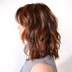 shoulder+length+wavy+auburn+balayage+bob