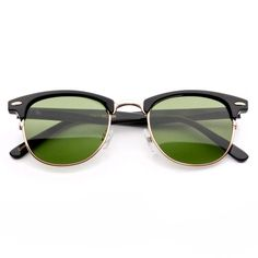 The Malcom Classic Half-Frame Clubsmen sunglass features an emerald green tint, nose bridge, and nose pads all contributing to a comfortable fit and cool style. Half-frame glasses have frames that only go around half of the lens: typically attached from the top. It has an exposed bottom allowing the person wearing it to have the pressure taken off of the nose...