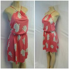 "OLD NAVY Pastel Coral tie Neck Dress size S OLD NAVY,  Pastel Coral, Tie Neck Dress,  size S , adjustable neckline, elastic waist, very soft material,  machine washable, machine washable, approximately 17 bust laying flat but very stretchy, 37"" length shoulder to hem Old Navy Tops"