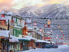 Whitefish, Montana with Big Mountain and Alpine Ski Lodge in background.