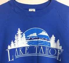 SOLD Vintage 1980s Lake Tahoe Blue Sweatshirt Made in USA XL Modern Day  Large  . XlGingham Shirt90s ... 7b2b5092c
